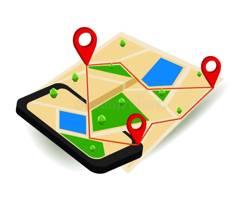 Bewegliche GPS-Navigationskarte und Stiftmarkierung mit modernem digitalem Gerät lizenzfreie abbildung