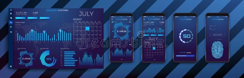 Bewegliche infographic Schablone APP mit den wöchentlichen und jährlichen Statistikdiagrammen des modernen Designs vektor abbildung