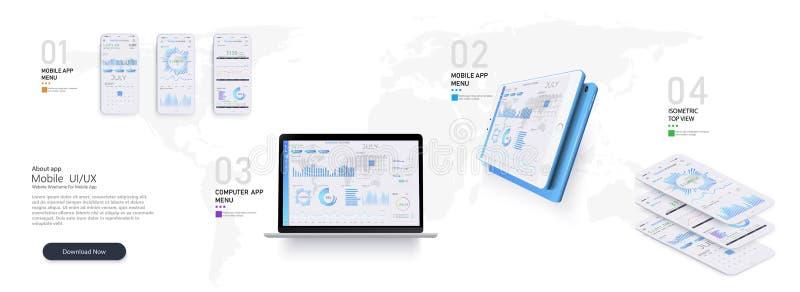 Bewegliche infographic Schablone APP mit den wöchentlichen und jährlichen Statistikdiagrammen des modernen Designs stock abbildung