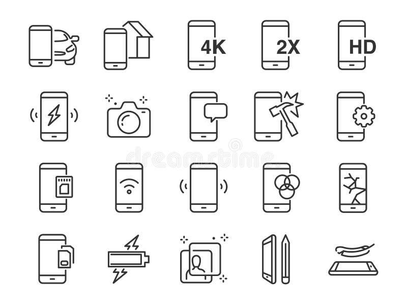 Bewegliche Linie Ikonensatz Schloss die Ikonen als Smartphone, Gedächtnis, Batterie, Filter, Schirm, Energie, Ladegerät und mehr  vektor abbildung