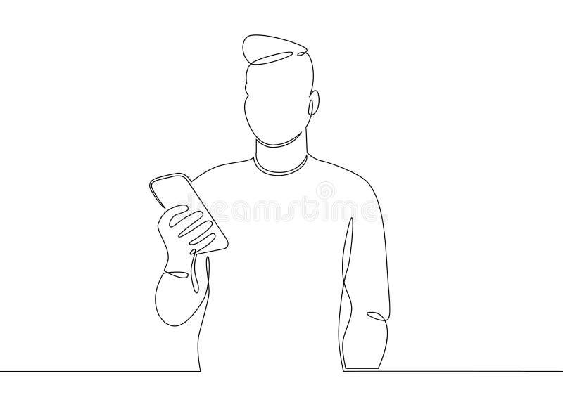 Bewegliche Mannkommunikation Telefon Smartphone stock abbildung