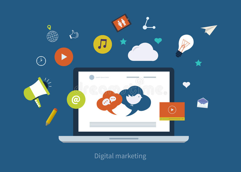 Bewegliche Marketing-Ikonen lizenzfreie abbildung