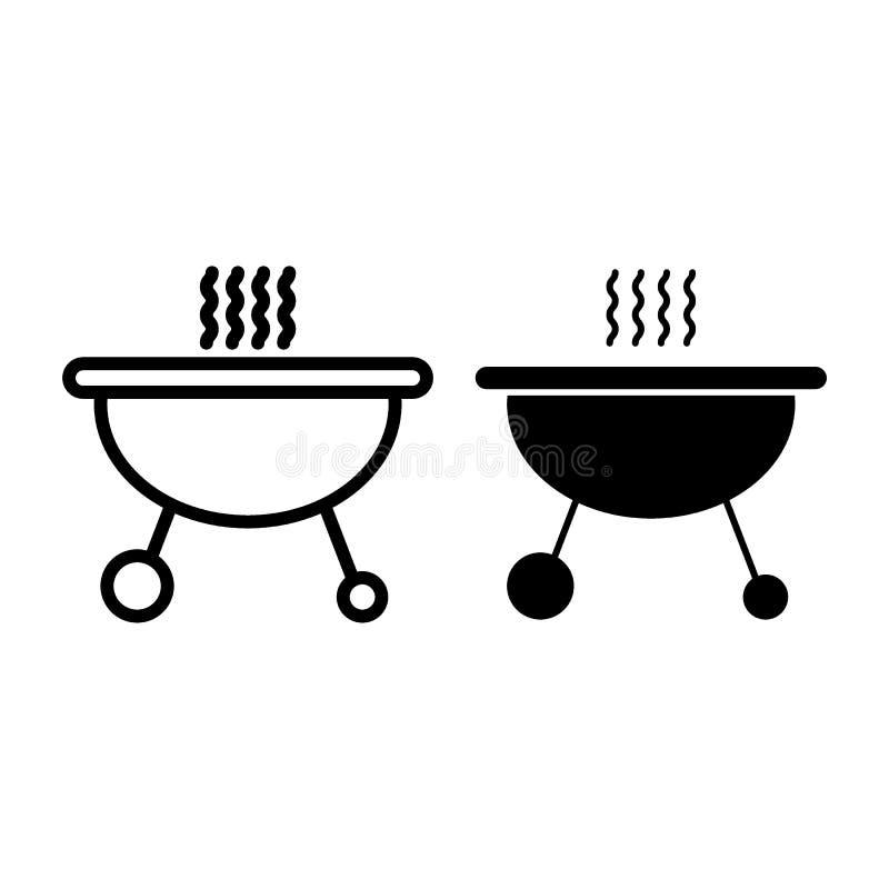 Bewegliche Messingarbeiterlinie und Glyphikone Grillvektorillustration lokalisiert auf Weiß Grillentwurfs-Artdesign, entworfen lizenzfreie abbildung