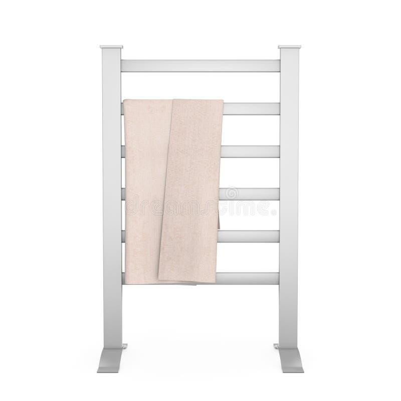 Bewegliche moderne Badezimmer-Tuch-Trockner-Heizung Wiedergabe 3d lizenzfreie abbildung