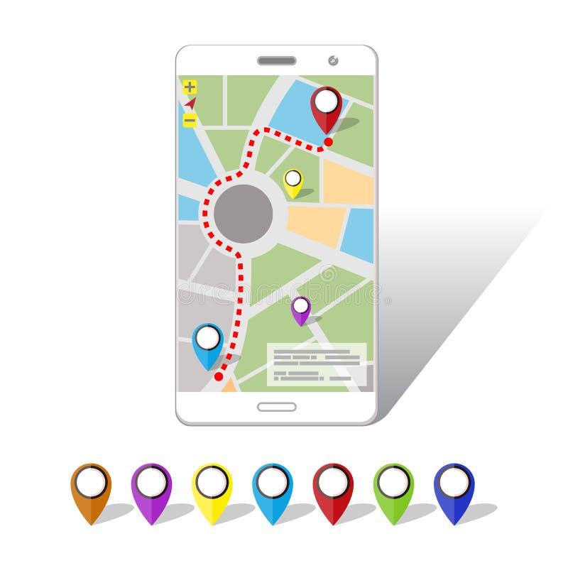 Bewegliche Navigationen GPSs auf Smartphone-Schirm stock abbildung