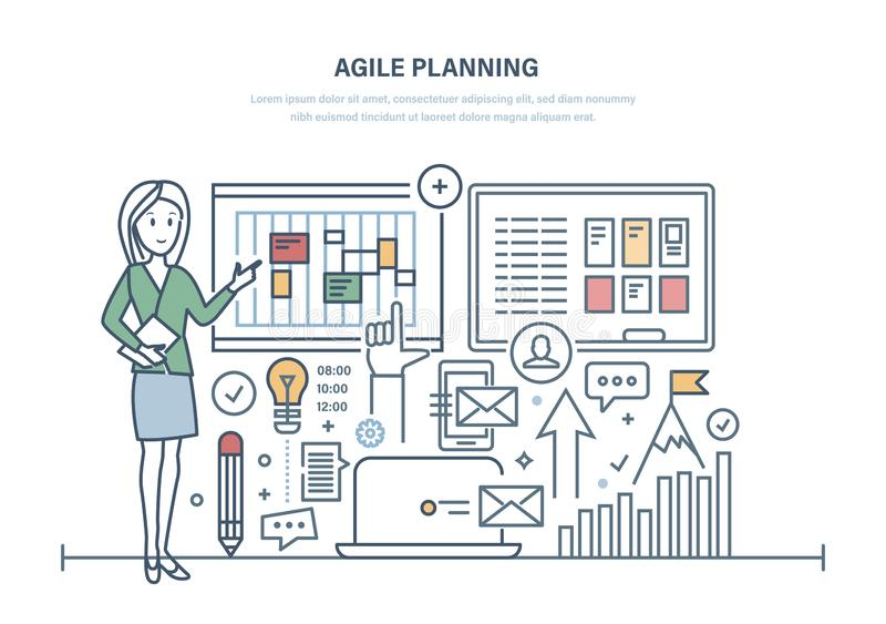 Bewegliche Planung des Geschäfts, Organisation der Arbeitszeit, Teammanagement vektor abbildung