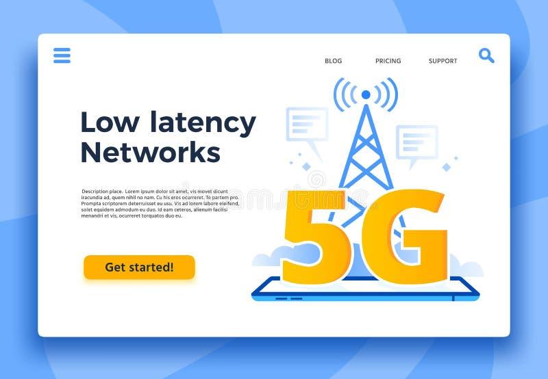 Bewegliche Seite der Landung 5G Schneller Internetanschluss, niedrige Latenznetze und Kommunikationsnetzabdeckungsvektor lizenzfreie abbildung