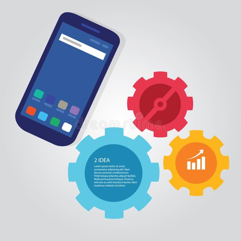 Bewegliche SmarttelefonKommunikationstechnologie-Schabloneninformationgraphik-Farbheller Gang stock abbildung