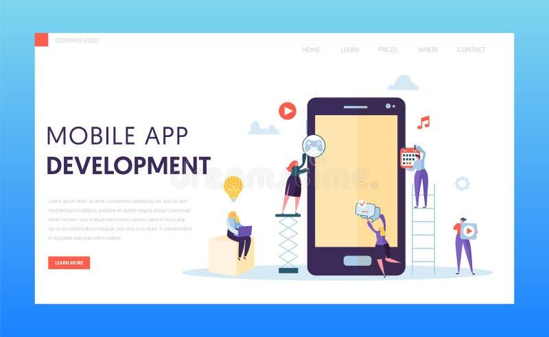 Bewegliche Test-Landungs-Seite der App-Entwicklungs-AB Softwareentwickler-Charakter stellen Ux-Innovations-Entwurf für Anwendung  vektor abbildung