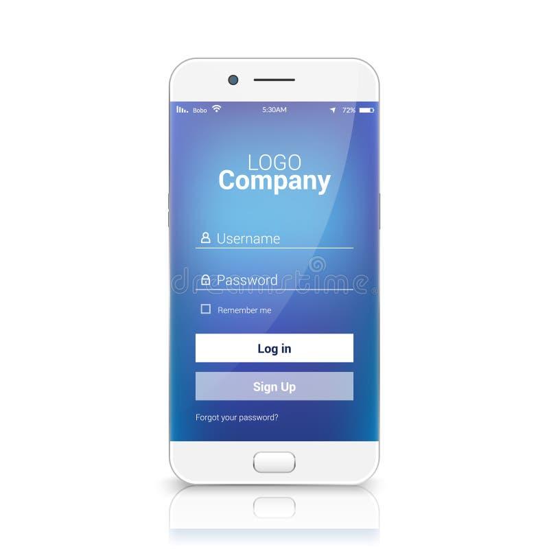 Bewegliche ui Anmeldungsregister-APP-Schablone Unterzeichnen Sie herein Vektorverpflichtungsdesign auf Smartphone vektor abbildung