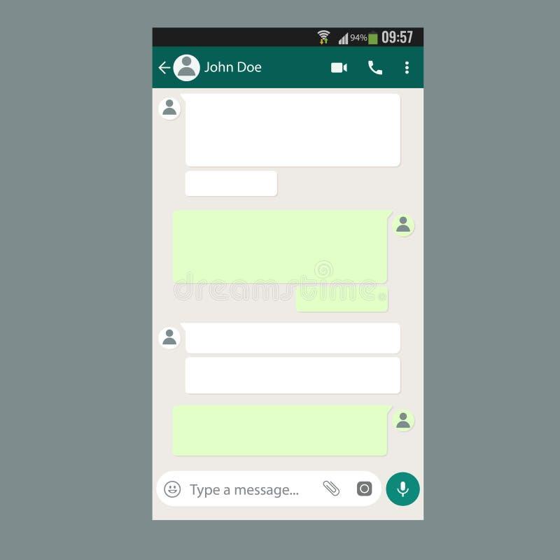 Bewegliche UI-Ausrüstung Chat-APP-Schablone auf Smartphoneschirm vektor abbildung