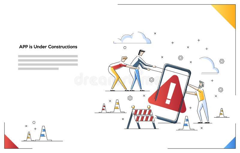 Bewegliche Website ist im Bau Vektorillustrationskonzept vektor abbildung