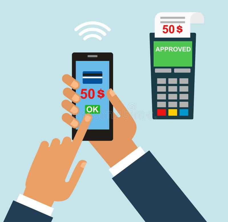 Bewegliche Zahlung Mobile Zahlungskreditkartehand, die Telefon flach hält vektor abbildung
