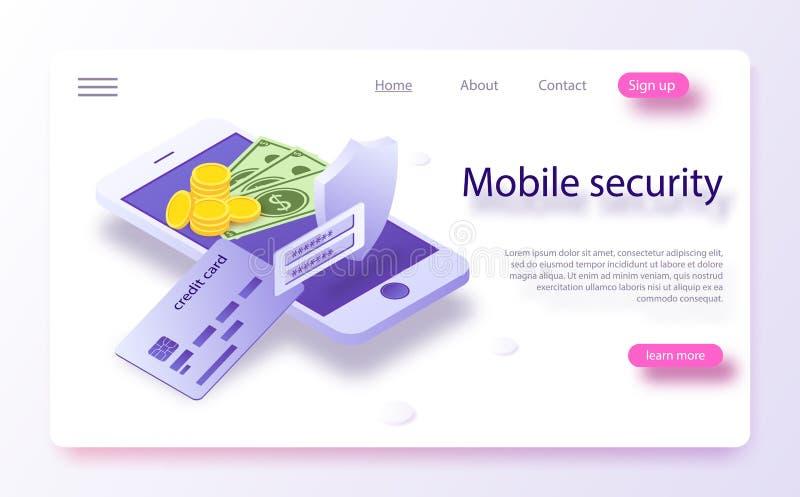 Bewegliche Zahlungen der Konzepte, Personendatenschutz Online-Zahlungs-Schutzsystemkonzept mit Smartphone und Kreditkarte lizenzfreie abbildung