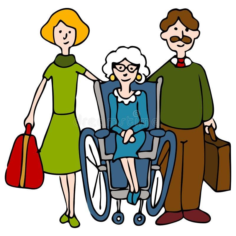 Beweglicher Älterer zum Pflegeheim lizenzfreie abbildung