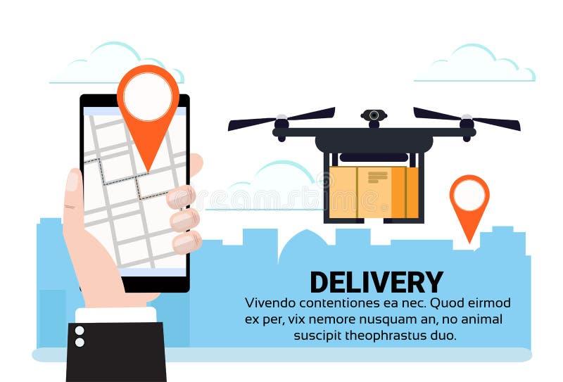 Beweglicher Appdrohnenfliegen deo Umbaugebläseluft-Paketversand trägt quadrocopter Navigations-Anwendungsstadtbild stock abbildung
