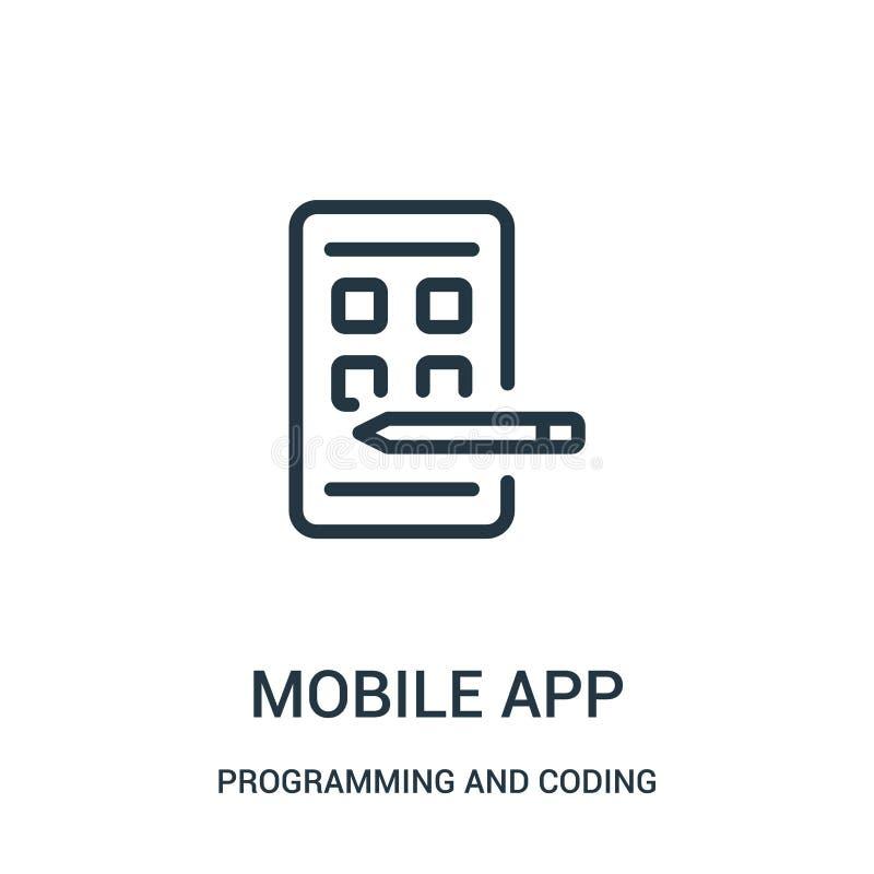 beweglicher Appikonenvektor von der Programmierung und von der Kodierung der Sammlung D?nne Linie bewegliche Appentwurfsikonen-Ve lizenzfreie abbildung