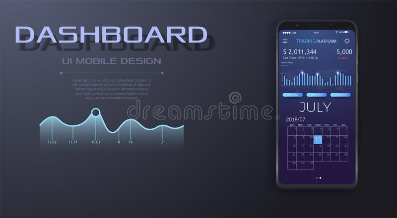 Beweglicher Armaturenbrett auf dem Smartphoneschirm, der Statistiken mit Daten und Diagrammen anzeigt vektor abbildung