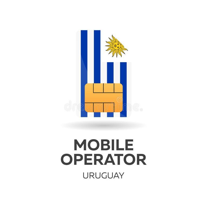 Beweglicher Betreiber Uruguays SIM-Karte mit Flagge Auch im corel abgehobenen Betrag lizenzfreie abbildung