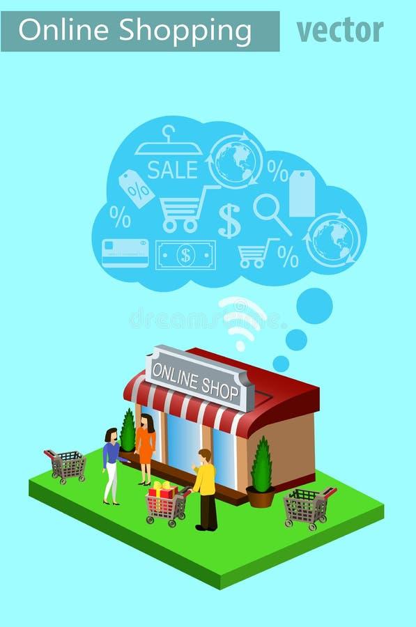 Beweglicher Einkaufse-commerce lizenzfreie abbildung