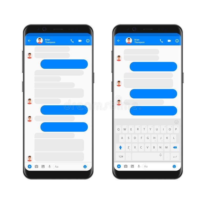 Beweglicher moderner ui Ausrüstungsbote auf dem Smartphoneschirm Plaudern Sie APP-Schablone mit leeren Chatblasen mit mobiler Tas stock abbildung