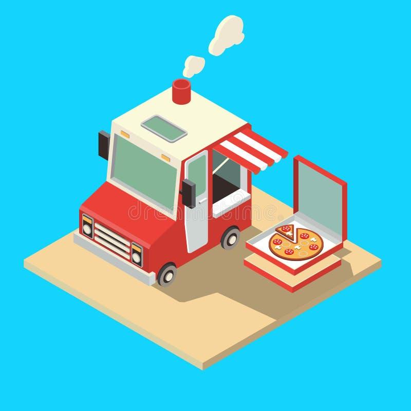 Beweglicher Nahrungsmittelverkäufer Lieferungs-Meister Straßen-Lebensmittel-Chef Web Template Flache Ikonen-gesetzter isometrisch stock abbildung