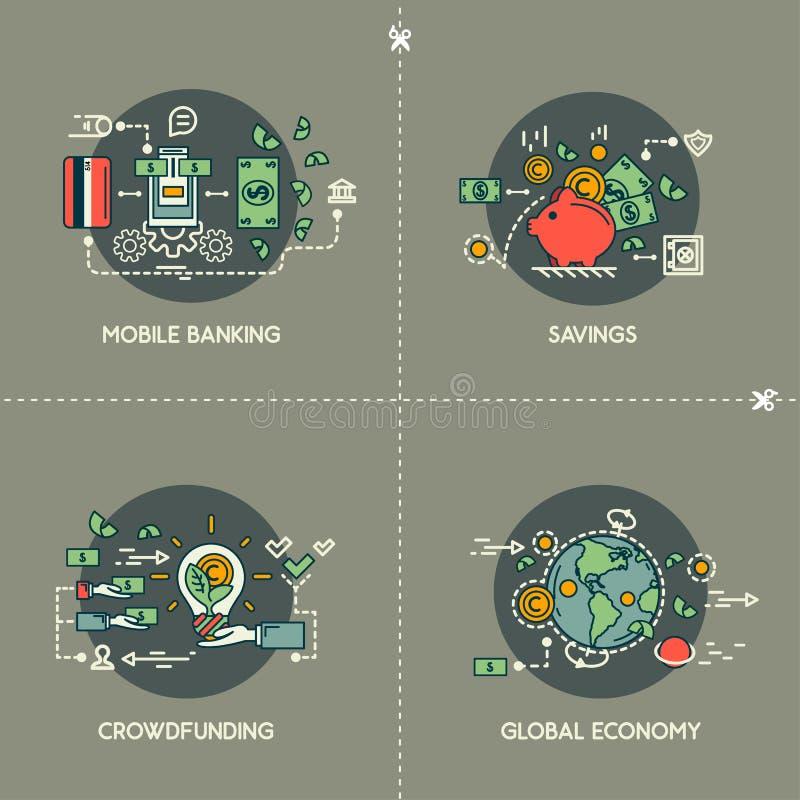 Bewegliches Bankwesen, Einsparungen, Crowdfunding, globale Wirtschaft stock abbildung