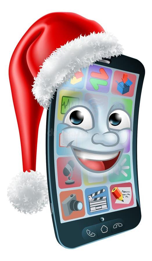 Bewegliches Handy-Weihnachtsmaskottchen in Santa Hat vektor abbildung