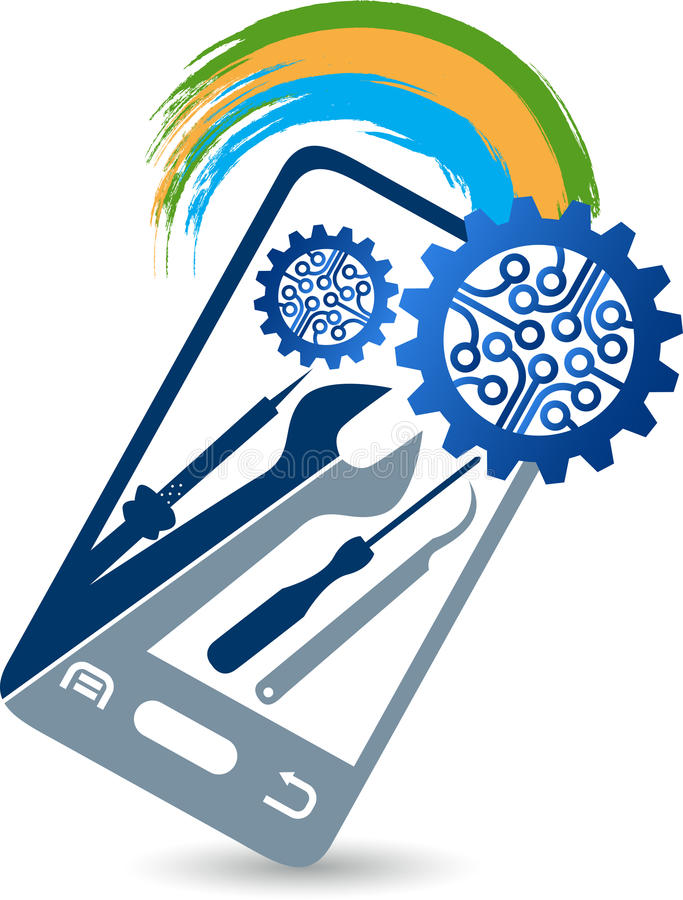 Bewegliches Service-Logo stock abbildung