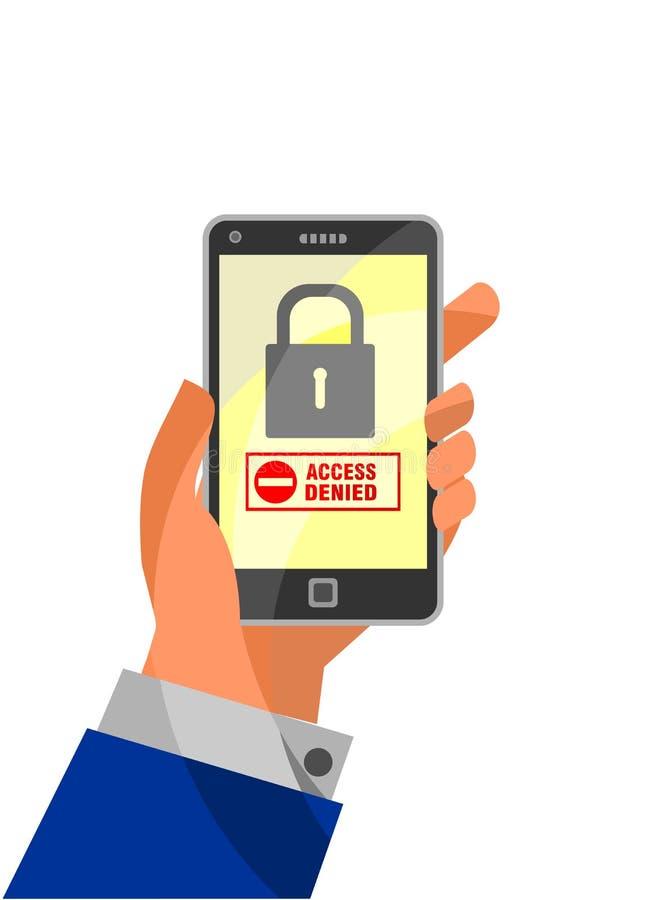 Bewegliches Sicherheitskonzept: Greifen Sie verweigert auf Smartphone zu stock abbildung