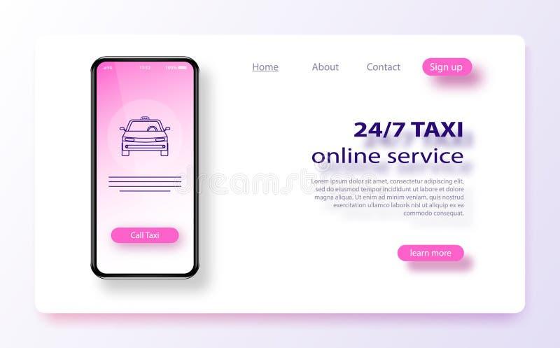 Bewegliches Taxibestellungsservice-APP-on-line-Konzept Taxiservice-Anwendungsfahnenschablone lizenzfreie abbildung