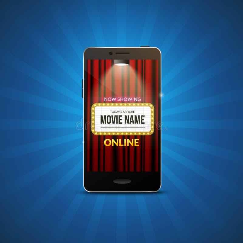 Bewegliches Theaterdesign des Kinofilms Vektoron-line-Filmillustration On-line-Anmeldungskarten-APP Smartphone mit Kinovorhängen stock abbildung