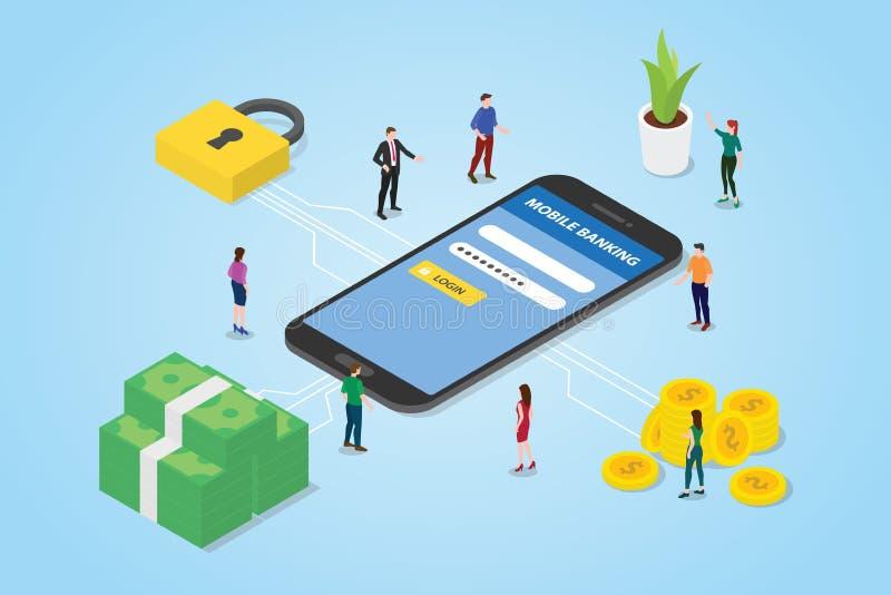 Bewegliches Zahlungskonzept mit Smartphonegeld und Sicherheit melden sicheren Bereich mit modernem isometrischem Artentwurf - Vek stock abbildung