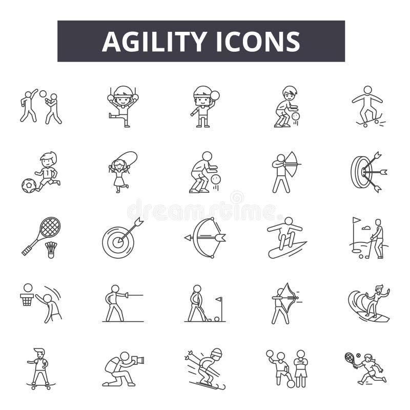Beweglichkeitslinie Ikonen Editable Anschlagzeichen Konzeptikonen: beweglich, Entwicklung, Gedränge, Strategie, Methodologie, Sof vektor abbildung