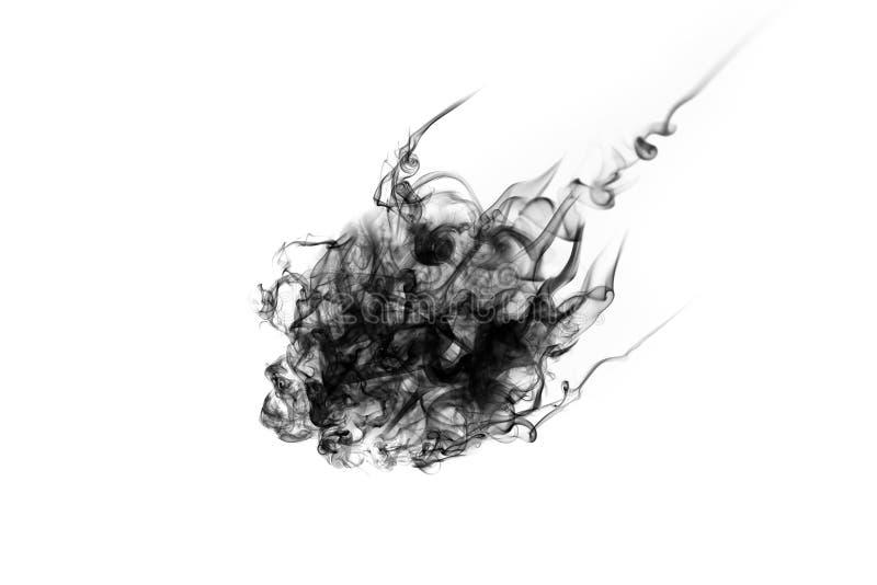 Bewegung des schwarzen Rauches auf weißem Hintergrund lizenzfreie stockfotografie