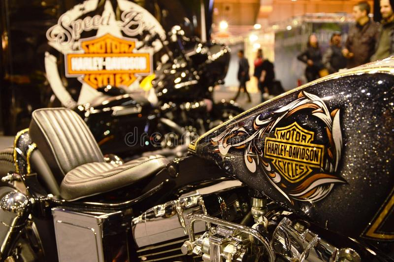 Bewegungsfahrradausstellung, Motorrad Harley Davidson lizenzfreie stockbilder