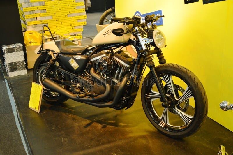 Bewegungsfahrradausstellung, Motorrad Harley Davidson-Schwarzes lizenzfreie stockfotos