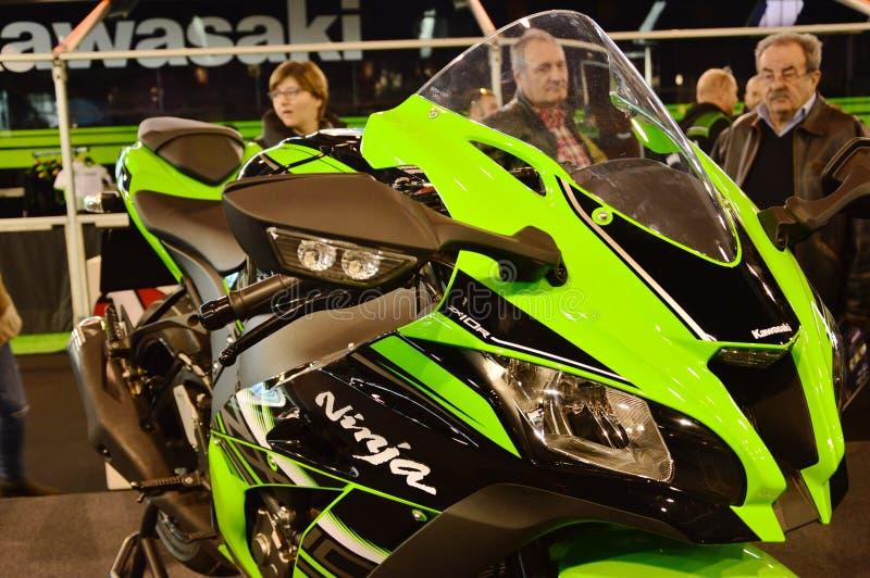 Bewegungsfahrradausstellung, Motorrad Kavasaki Ninja lizenzfreies stockfoto