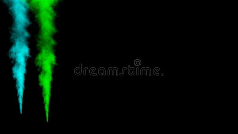 Bewegungsgrün und Zusammenfassung der blauen Tinte mit schwarzem Hintergrundstaubexplosions-Entwurfspulver stock abbildung