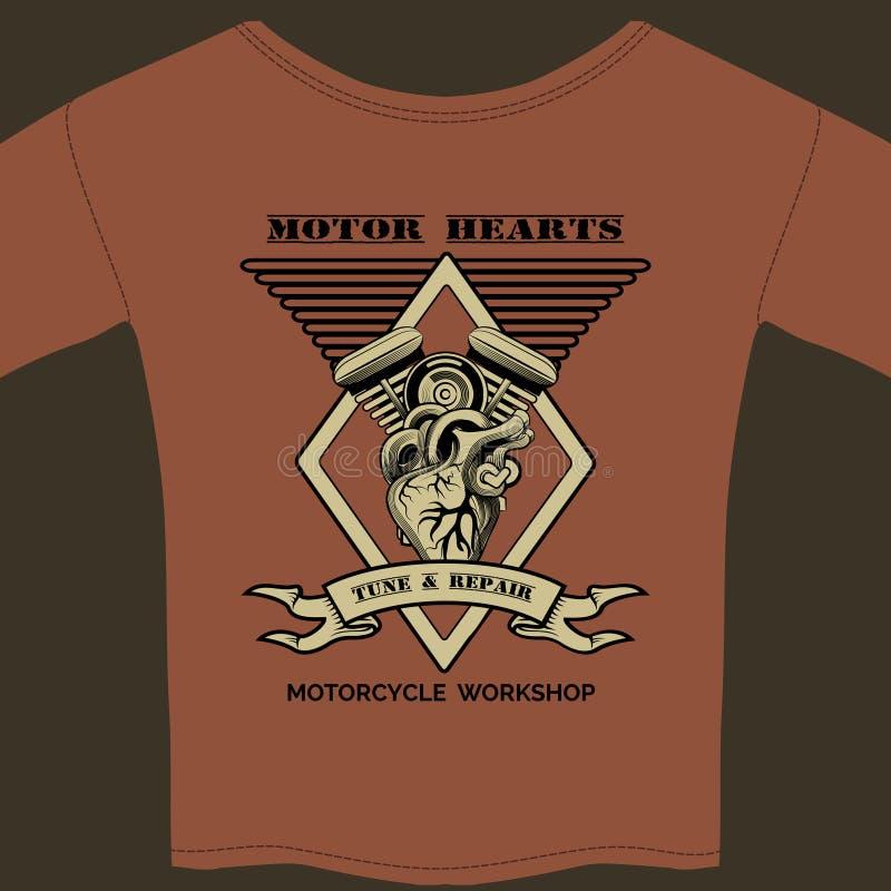 Bewegungsherz-Motorrad-Werkstatt vektor abbildung