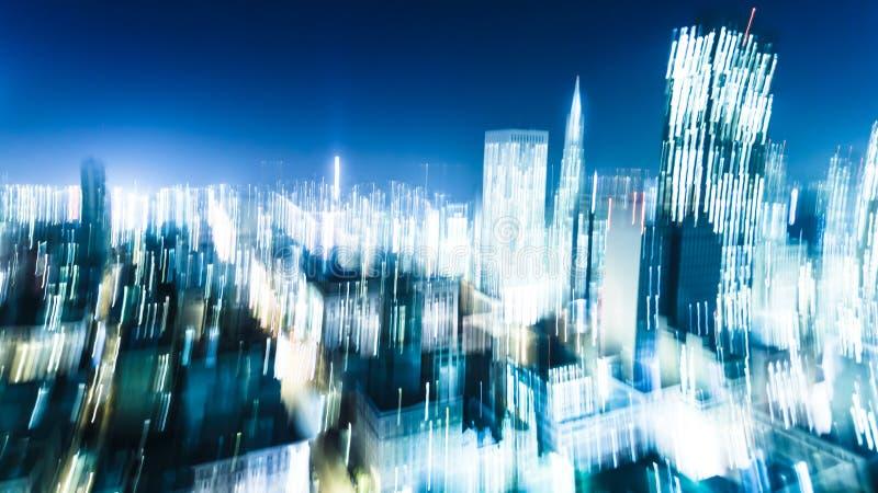 Bewegungsunschärfe von Stadt-Lichtern stockfotos