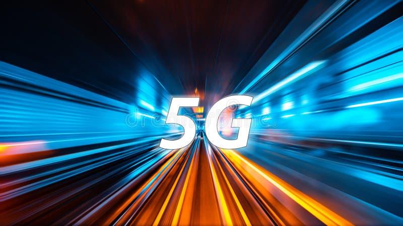 Bewegungsunschärfehintergrund mit 5G stockbilder