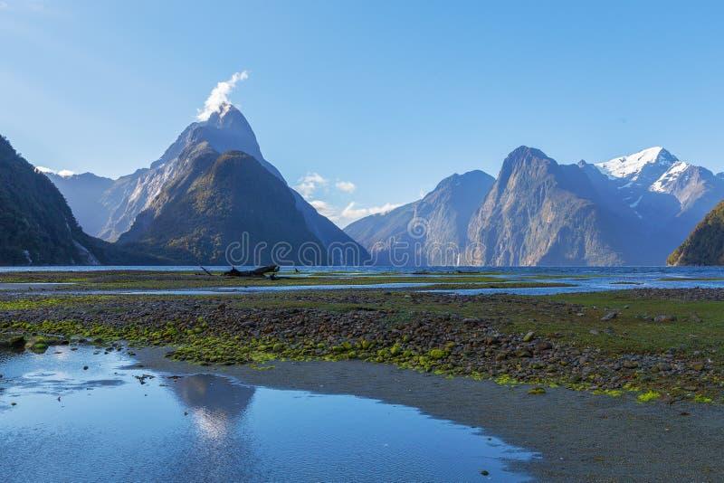Bewerk Piek bij Milford-Geluid in verstek, het Nationale Park van Fiordland, Nieuwe Zealan stock foto's