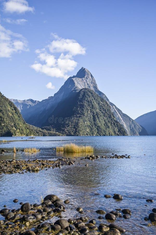 Bewerk Piek in Milford Geluid, Nieuw Zeeland in verstek royalty-vrije stock foto's