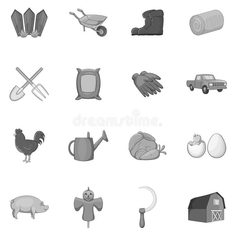 Bewerkend geplaatste pictogrammen, zwarte zwart-wit stijl stock illustratie