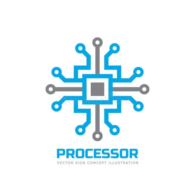 Bewerker cpu - vectorembleemmalplaatje voor collectieve identiteit Abstract chipteken Netwerk, Internet-technologieconcept vector illustratie