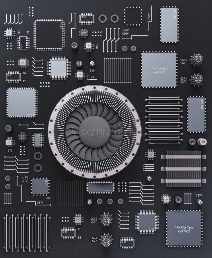 Bewerker (microchip) het onderling verbonden ontvangen van en het verzenden van infor stock illustratie