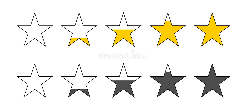 Bewertende Sterne Sternberichtbewertung Feedback-Konzept Kunden-Produktbewertungsbericht mit fünf Sternen lizenzfreie abbildung