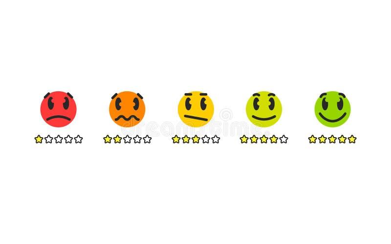 Bewertung emoji für Kundendienst mit lustigen verschiedenen Gefühlen lizenzfreie abbildung