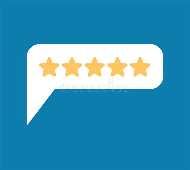 Bewertung 5 Feedback fünf Sterne sprudeln Empfehlungen unterzeichnen Rückrufsymbol stock abbildung